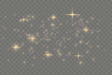 The dust sparks and golden stars shine with special light. Vector sparkles on a transparent background. Chr