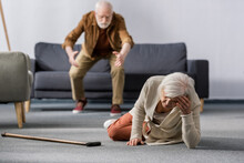 Selective Focus Of Senior Man ...