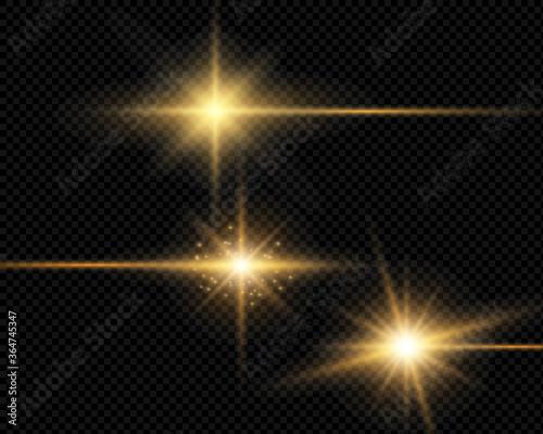 Obraz Sunlight on a transparent background. Glow light effects.Star flashed sequins. Sun glare on transparent background. the lens sparkles - fototapety do salonu