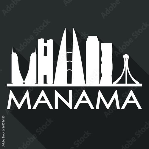 Manama Flat Icon Skyline Silhouette Design City Vector Art Famous Buildings.
