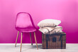 canvas print picture - Modern Pink Velour Chair, Wicker Hamper Basket with Beige Cushions and Cashmere Throw on top. Modern interior in the house. Blue wall as background