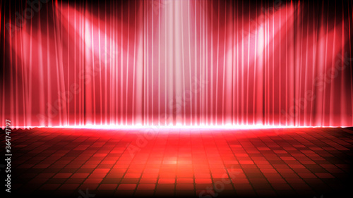 Obraz abstract futuristic background of empty stage with red curtain and lighting spotlgiht stage background - fototapety do salonu