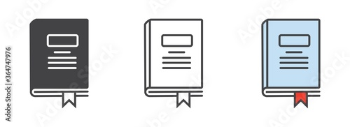 Fotografia book icon in different style vector illustration, logo isolated on white backgro