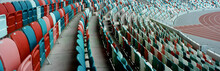 WIDE View Of Empty Stadium Seats Before Game Or During Coronavirus COVID-19 Pandemic