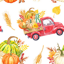 Watercolor Red Harvest Truck With Autumn Seasonal Vegetables And Fruits Seamless Pattern. Fall Pumpkins Illustration. Colorful Botanical Print. Thanksgiving Day Theme Design.