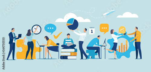 Fototapeta Team cooperation concept. Business vector illustration. obraz