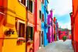 canvas print picture - Colorful architecture in Burano island, Venice, Italy. Famous travel destination