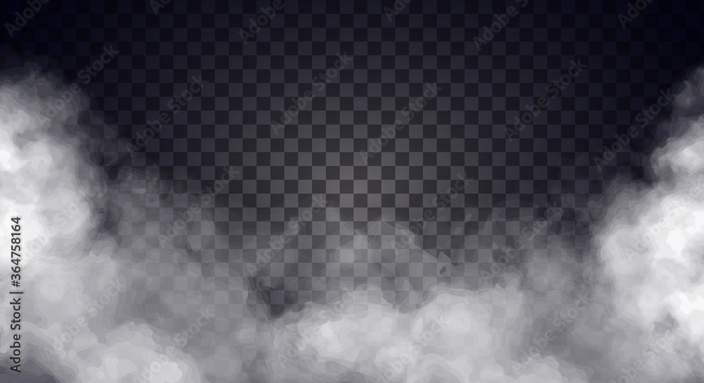 Fototapeta White fog or smoke on dark copy space background. Vector illustration