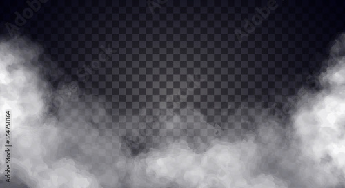 Fototapeta White fog or smoke on dark copy space background. Vector illustration obraz