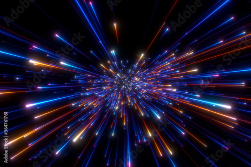 Fototapety, obrazy: Speed of light in space on dark background. Abstract background in blue, yellow and orange neon colors. 3D rendering.