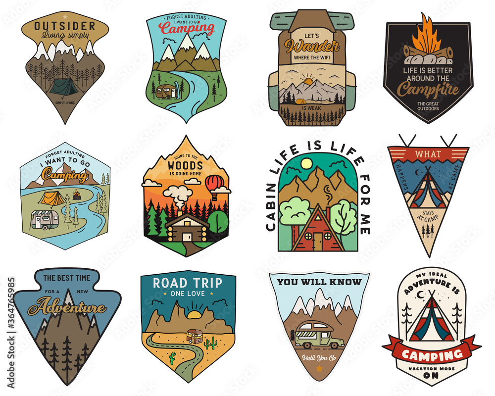 Fototapeta Camping adventure badges logos set, Vintage travel emblems. Hand drawn stickers designs bundle. Hiking expedition, road trip labels. Outdoor camper insignias. Logotypes collection. Stock vector.