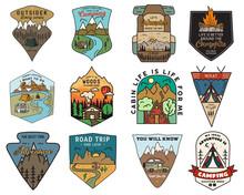 Camping Adventure Badges Logos...