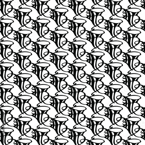 Fényképezés Vector abstract transparent ornament convoluted  black and white seamless patter