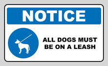 Dog On Leash Area Icon. Dogs Allowed Sign. Vector Illustration Isolated On White. Blue Mandatory Symbol With White Pictogram And Text. Notice Banner.