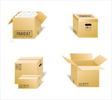 Air & Parachute Shipping Concept.Vector Illustration Of Cardboard Boxes. Mail Delivery - Vektor Photo