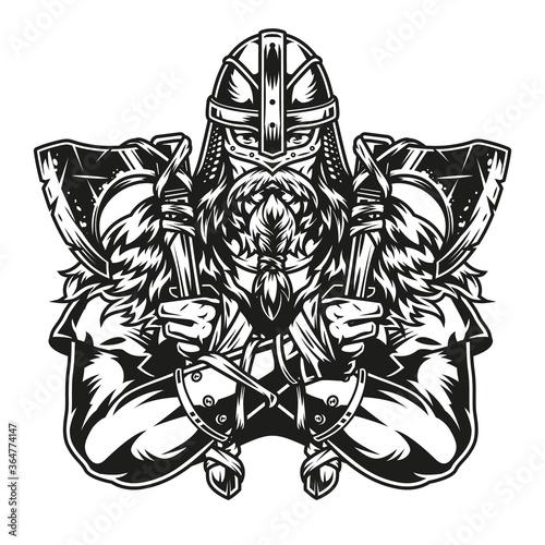 Obraz na plátně Strong viking warrior in helmet