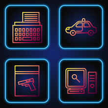 Set Line Search On Computer Screen, Evidence Bag And Pistol Or Gun, Retro Typewriter And Police Car And Flasher. Gradient Color Icons. Vector.