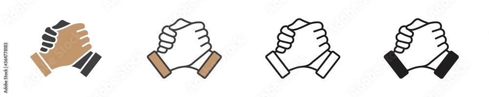 Fototapeta Soul brother handshake icon in different style, thumb clasp handshake vector illustration