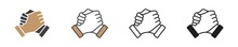 Soul Brother Handshake Icon In Different Style, Thumb Clasp Handshake Vector Illustration