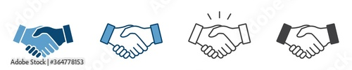 Fototapeta Business agreement handshake icon in different style vector illustration, friendly handshake icon for apps and websites obraz