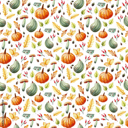 Fototapeta Seamless watercolor background with hand-drawn autumn objects on white background. Pumpkins, tea in a cup, oak and birch leaves, acorns, rosehip berries. obraz