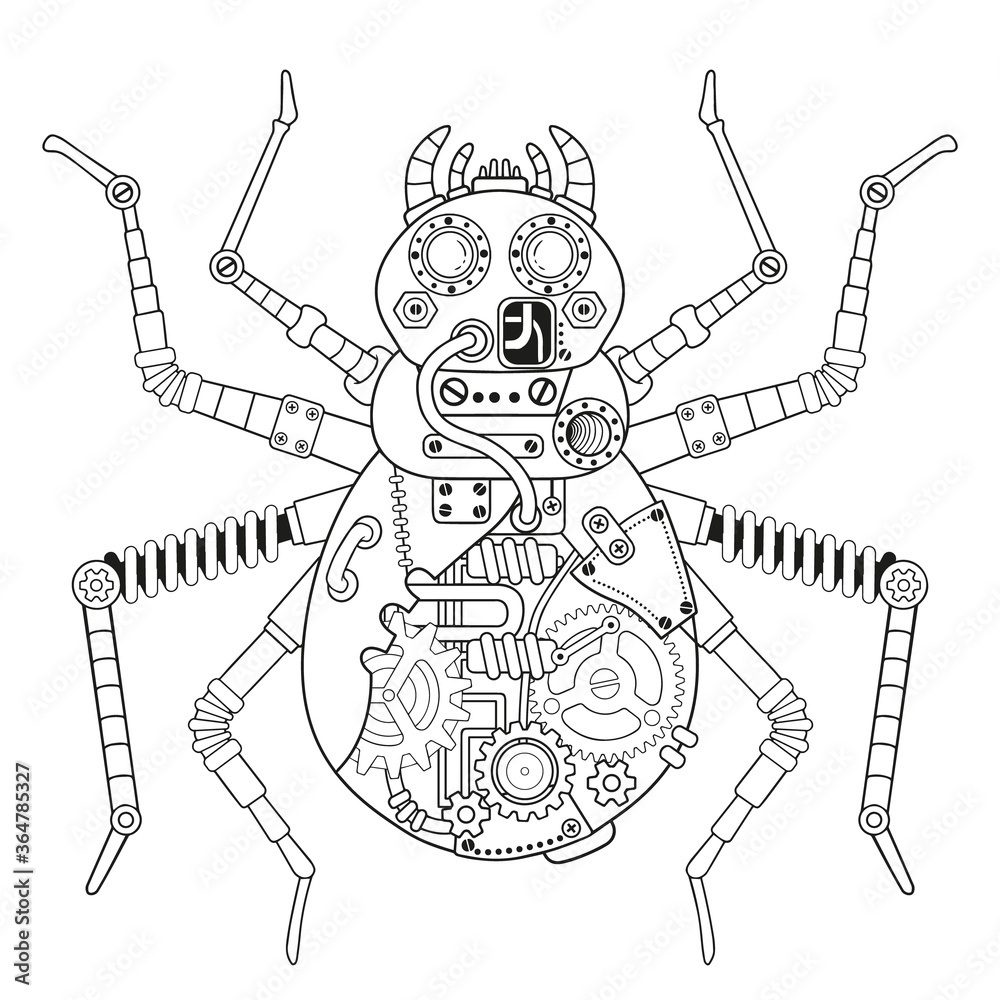 Fototapeta Steampunk vector coloring page. Vector coloring book for adult for relax and medetation. Art design of a fictional mechanical spider