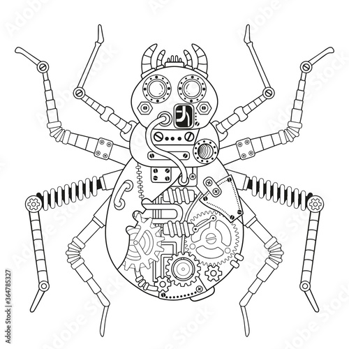 Fototapeta Steampunk vector coloring page. Vector coloring book for adult for relax and medetation. Art design of a fictional mechanical spider obraz