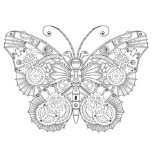 Steampunk Vector Coloring Page. Vector Coloring Book For Adult For Relax And Medetation. Art Design Of A Fictional Mechanical Butterfly