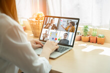 Video Call Group Of Business People Meeting On Virtual Workplace Or Remote Office.Remote Work,virtual Meeting And Online Video Conference Interview Call Concept.Manager Talking Online With Coworkers