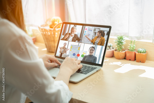 Video call group of business people meeting on virtual workplace or remote office Fotobehang