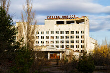 PRIPYAT, UKRAINE - NOVEMBER 12, 2016: Pripyat. Ghost Town In Chernobyl Exclusion Zone. Abandoned House. Hotel Energetik And Polissya.