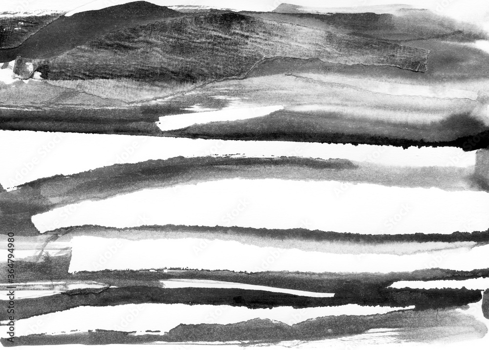 Fototapeta Abstract landscape ink hand drawn illustration. Black and white ink winter landscape with river. Minimalistic hand drawn illustration card background poster banner. Hand drawn watercolor black lines.
