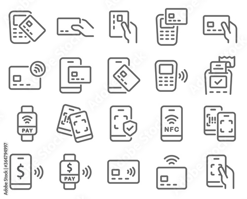 Fotomural Contactless cashless society icon set vector illustration