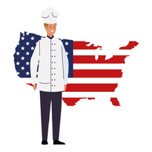 Chef Man With Usa Flag Map Des...