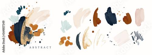 vector Abstract Illustration. watercolor and gold splash,  isolated on white background. elegant modern - fototapety na wymiar