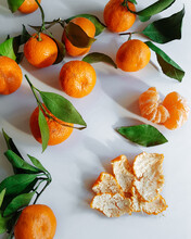 Stack Of Mandarins On A Table