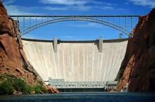 USA, Metal Bridge And Large Dam