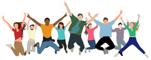 Happy Jumping People Rejoice In Victory, Success, And Happiness. Crowd Of Cheerful People At Party, Holiday. Hands Up. Vector Illustration