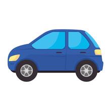 Blue Car Design, Vehicle Automobile Auto Transportation Transport Wheel Automotive And Speed Theme Vector Illustration