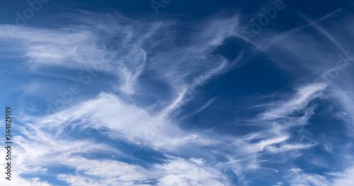 Fotografija Stunning cirrus cloud formation panorama in a deep blue sky