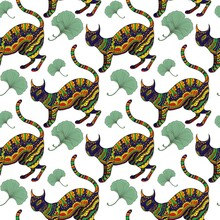 Seamless Pattern With Ornamental Psychedelic Cat,