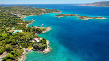 Aerial Drone Photo Of Chinitsa Bay A Popular Anchorage Crystal Clear Turquoise Sea Bay For Yachts And Sail Boats Next To Porto Heli, Saronic Gulf, Greece