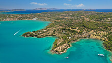 Aerial Drone Photo Of Beautiful Fjord Landscape Forming Turquoise Beaches In Small Vegetated Coves In Porto Heli A Popular Anchorage For Yachts And Sail Boats, Argolida, Greece