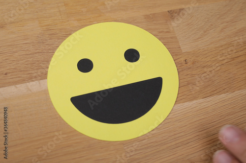 expression emotion smiley in yellow concept Canvas Print