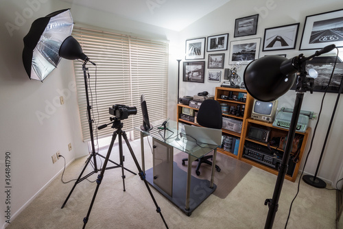 Home office set up as vlogging studio with lights, camera and tripod for work, school or socialising Wallpaper Mural