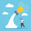 man with light bulb rocket design, Start up plan idea strategy and marketing theme Vector illustration