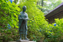 Matsuo Basho Monument At Chusonji Temple In Hiraizumi, Iwate, Japan. Matsuo Basho (1644-1694) Was The Most Famous Poet Of The Edo Period In Japan.