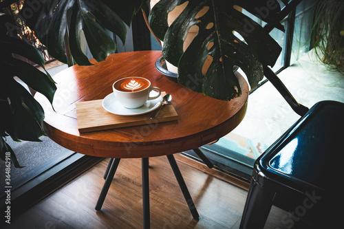Fotografie, Obraz Cup of coffee latte art.