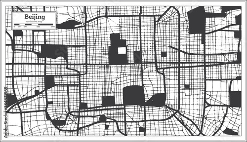 Fotografie, Obraz Beijing China City Map in Black and White Color in Retro Style