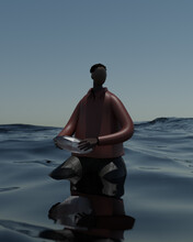 Illustration Of Young Man Sitting On Rock In Sea
